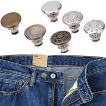 12 Sets Jeans Button Replacements, No Sew Instant Button Detachable Jean Button Pins, Labato Metal Adjustable Removable Jeans Button Kits Fit All Pants Waist Size