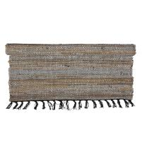 Eightmood Malene Leather Woven Area Throw Rug, Fringe Trim (Large - 75.5 x 56, Light Brown)