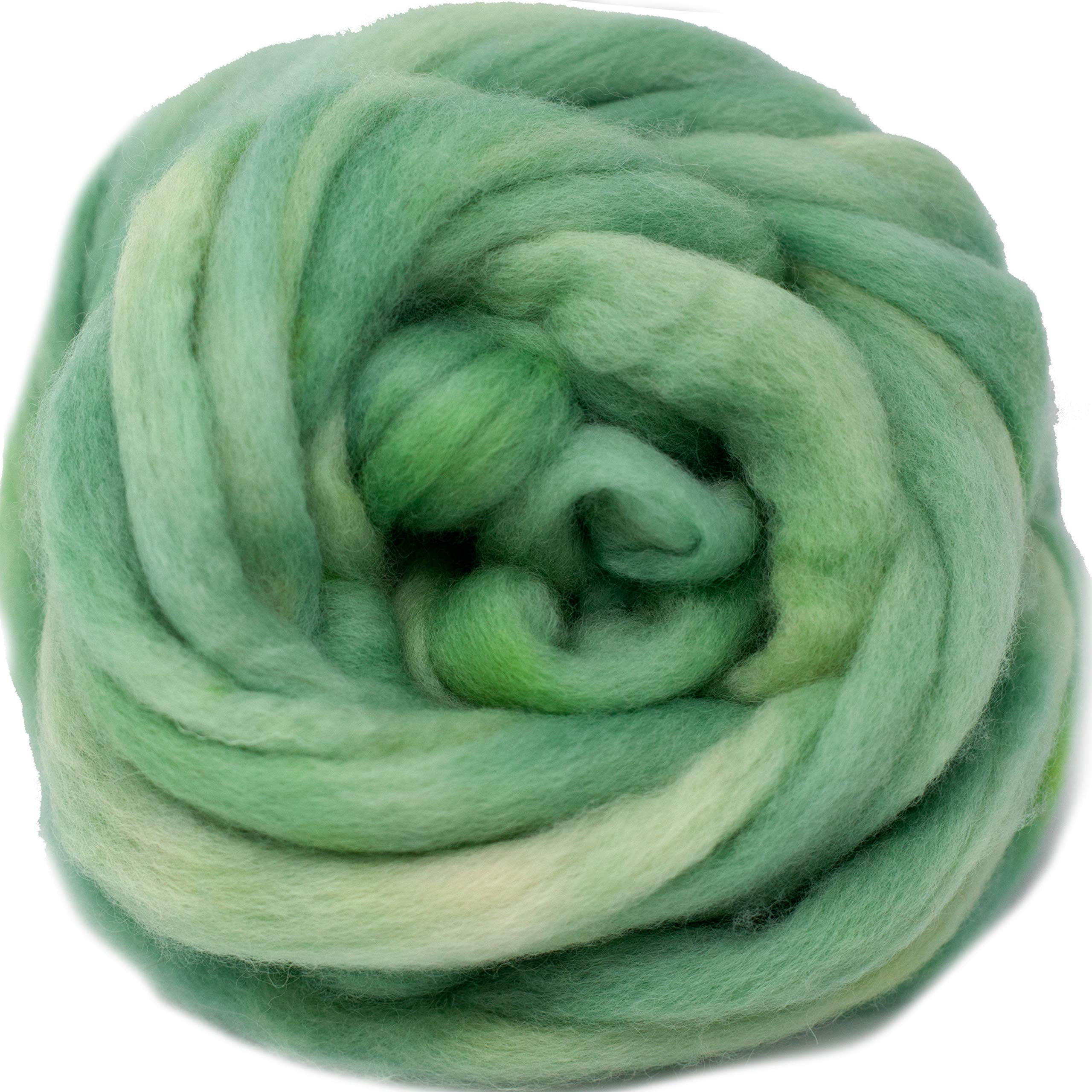 Wool Roving Hand Dyed. Super Soft BFL Combed Top Pre-Drafted for Easy Hand Spinning. Artisanal Craft Fiber ideal for Felting, Weaving, Wall Hangings and Embellishments. 4 Ounce. Ocean Green