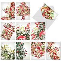 Boxed Set of 10 'Seasonal Swirls' Christmas Greeting Cards - Red and Green Swirls Christmas Cards 4 x 5.12 inch, Loops and Swirls in Traditional Xmas Stationery Cards with Envelopes M6053