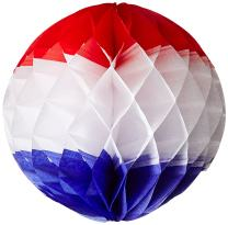 Tri-Color Tissue Ball (red, white, blue) Party Accessory  (1 count) (1/Pkg)