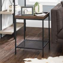 Walker Edison Furniture Company Industrial Farmhouse Square Side End Accent Table Living Room, Dark Walnut