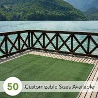 iCustomRug Indoor/Outdoor Turf Rugs and Runners Artificial Grass Many Custom Sizes and Widths Finished Edges with Binding Tape Green 6' X 15'