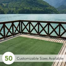 iCustomRug Indoor/Outdoor Turf  Rugs and Runners in Green 12' X 9' Low Pile Artificial Grass in Many Custom Sizes and Widths with Finished Edges with Binding Tape