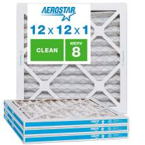"Aerostar Clean House 12x12x1 MERV 8 Pleated Air Filter Made in The USA Actual Size 11 3/4""x11 3/4""x3/4"" 4 Pack, White"