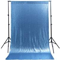 Sequin Backdrop Curtain Baby Blue Glitter Backdrop 4ftx6.5ft Party Photography Background Decoration