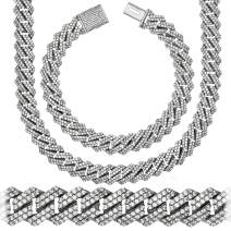 "Premium Iced CZ Square S-Link Miami Cuban Link Chain Made From Jewelers Alloy With Secure Box Lock. In Widths 12MM, 14MM and Lengths 8"", 9"", 18"", 20"", 22"", 24"", 26"", 28"", 30"""