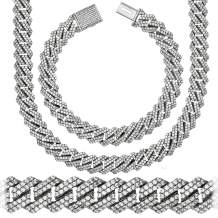 """Premium Iced CZ Square S-Link Miami Cuban Link Chain Made From Jewelers Alloy With Secure Box Lock. In Widths 12MM, 14MM and Lengths 8"""", 9"""", 18"""", 20"""", 22"""", 24"""", 26"""", 28"""", 30"""""""