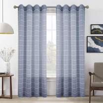 Room Divider Sheer Window Curtain Panels for Closet Curtain, Room Decor for Bedroom Aesthetic ,Front Door ,84 Inches Navy Sheer Curtain Panels