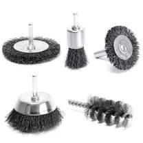 "S&R Wire Brushes Drill Bit Set 5 Pcs, Round Shank 6 mm/0.2"": 2 Round Brushes 38, 75 mm, 1 Cup Brush 75 mm, 1 Brush 25 mm, 1 Pc. Cylinder Brush 28x60x90 mm"