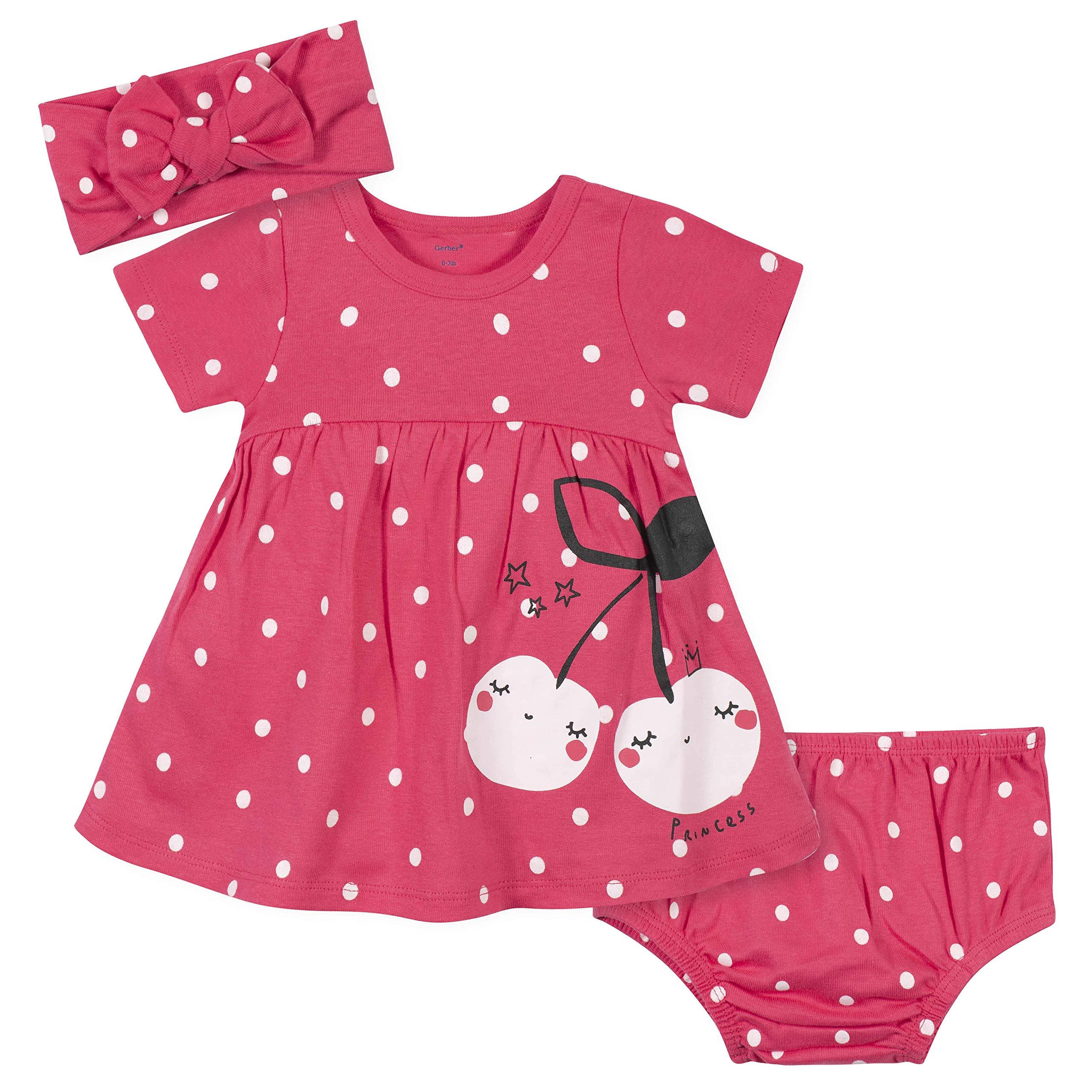 Gerber Baby Girls' 3-Piece Dress, Diaper Cover and Headband Set