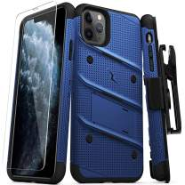 Zizo Bolt Cover - Case for iPhone 11 Pro with Military Grade + Glass Screen Protector & Kickstand and Holster (Blue/Black)