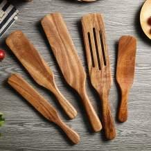 joupugi Spurtle Set, 5pcs Natural Wood Kitchen Utensils Set, Wooden Spoons For Cooking, Slotted Spurtle Spatula Sets For Stirring, Mixing, Serving