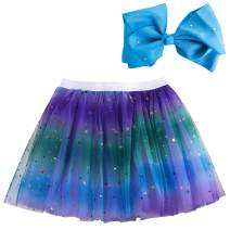 azuza - Rainbow Skirt Princess Dress Tutu for Toddler Girls with Large Colorful Hair Bows