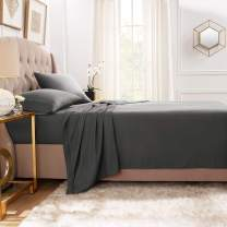 """Empyrean Bedding Premium Flat Sheets – 2-Pack """"110 GSM"""" Top Bed Sheets Double Brushed Microfiber Thick and Comfortable Flat Sheets Set, Luxurious & Soft Hotel Hypoallergenic, Full, Charcoal Gray"""