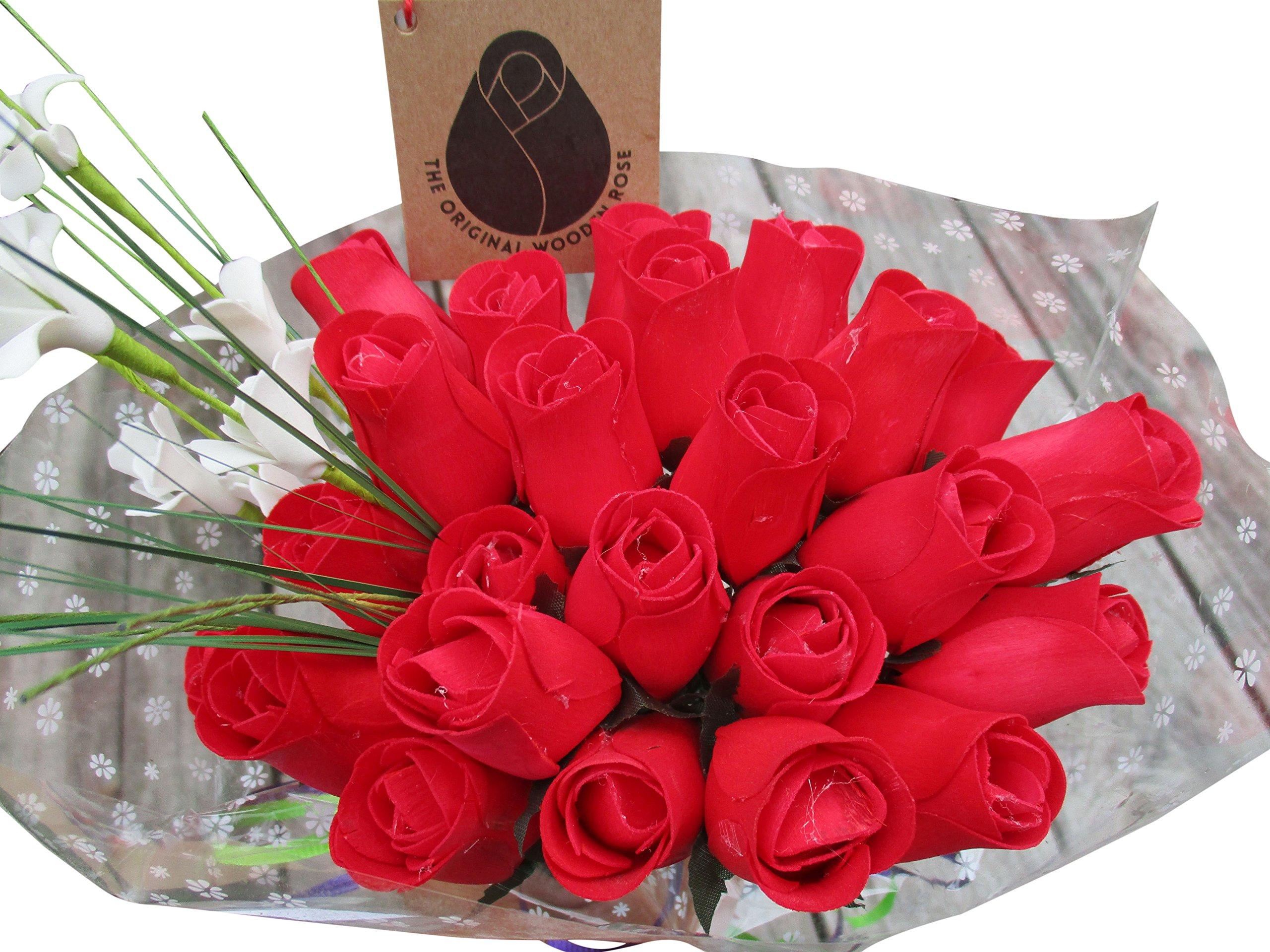 The Original Wooden Rose Valentines Day All RED Flower Bouquet (2 Dozen)