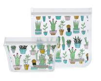 Full Circle ZipTuck Reusable Plastic Lunch Bags Set, Cactus Party
