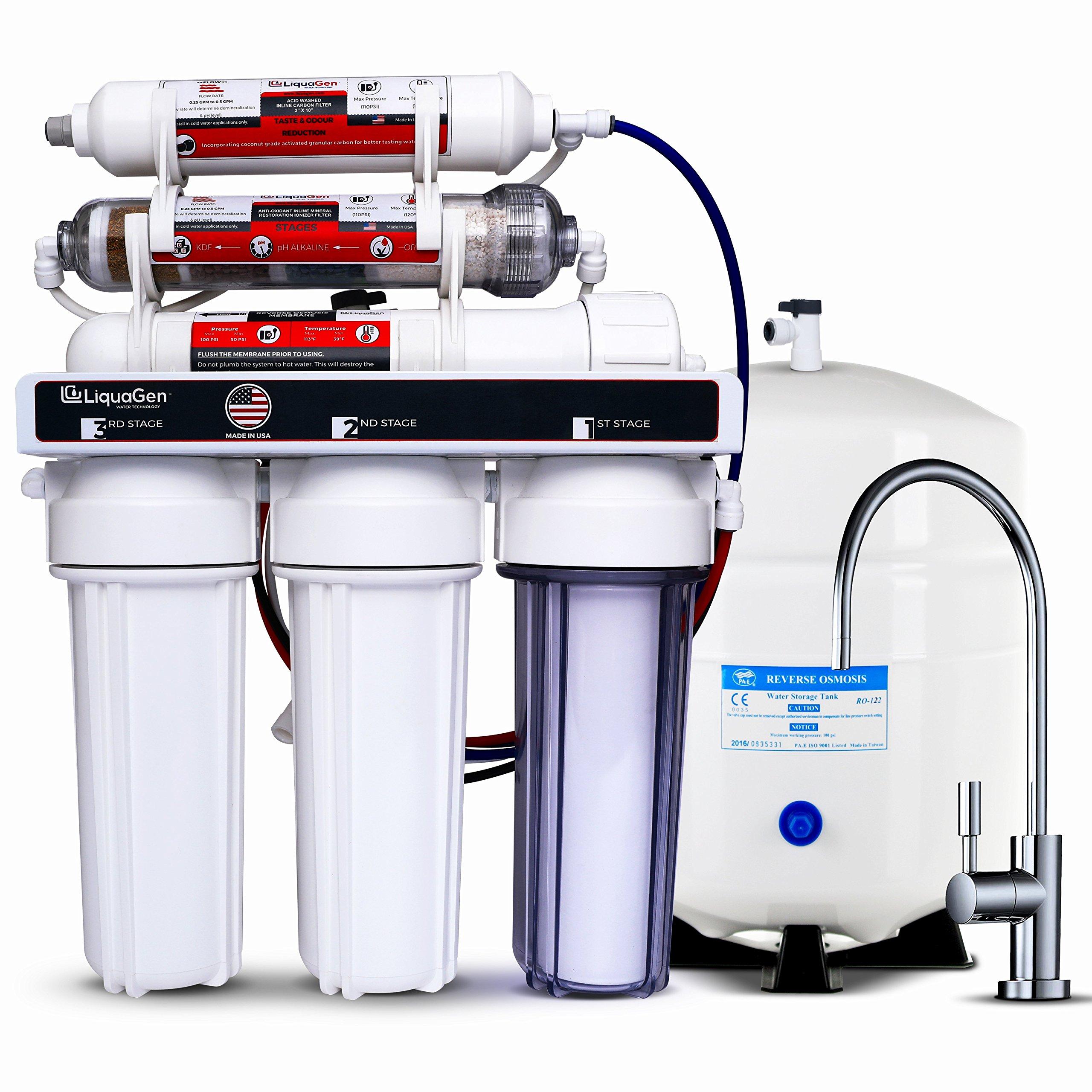 LiquaGen - 6 Stage Anti-oxidant Alkaline, ORP Ionizer Reverse Osmosis Under Sink Home Drinking Water Filtration System