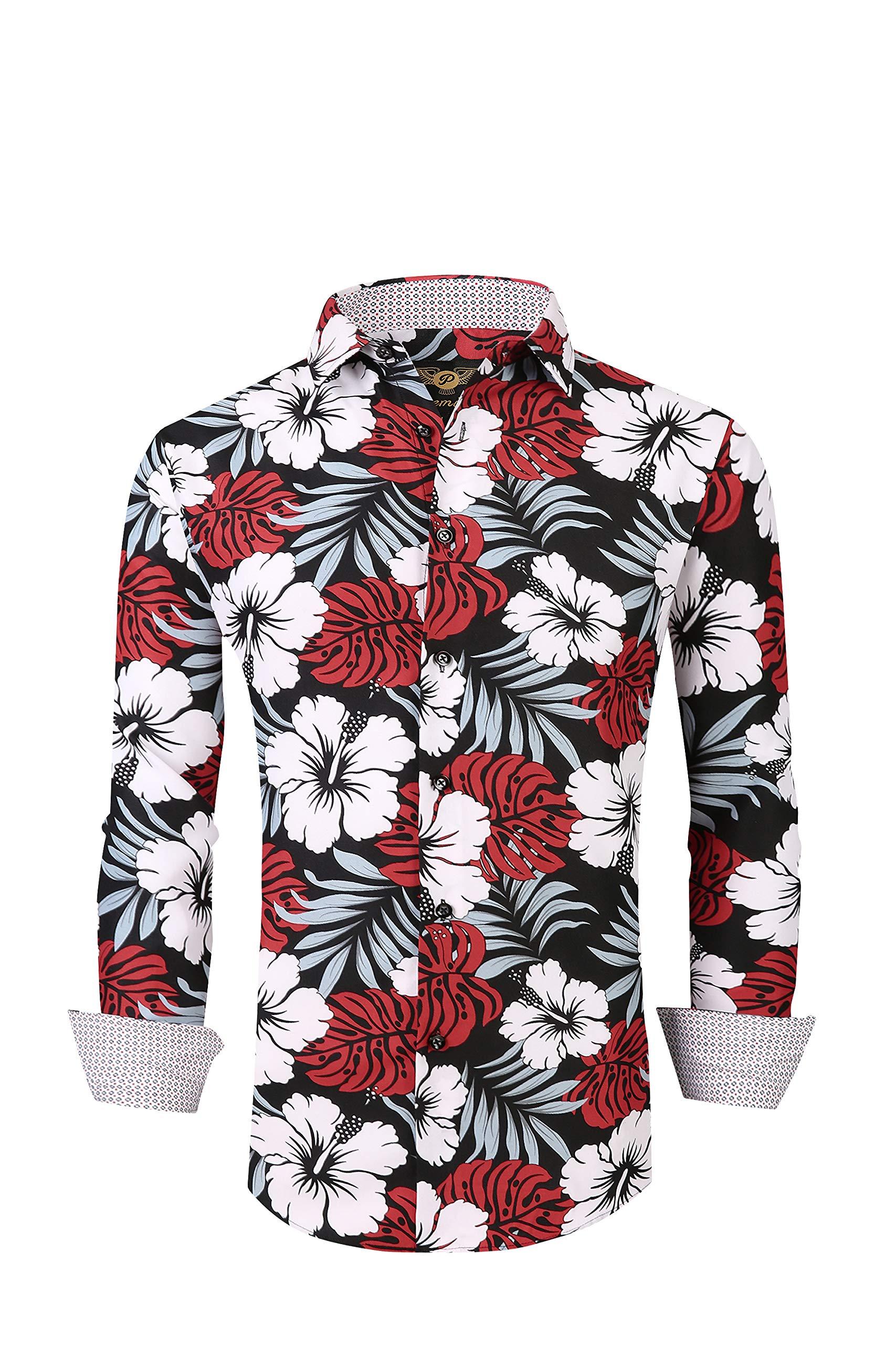Flash Apparel Premiere Men Floral Dress Shirts Long Sleeve Casual Button Down Flower Hawaiian Printed Shirts (3XL, Black Red White 689)