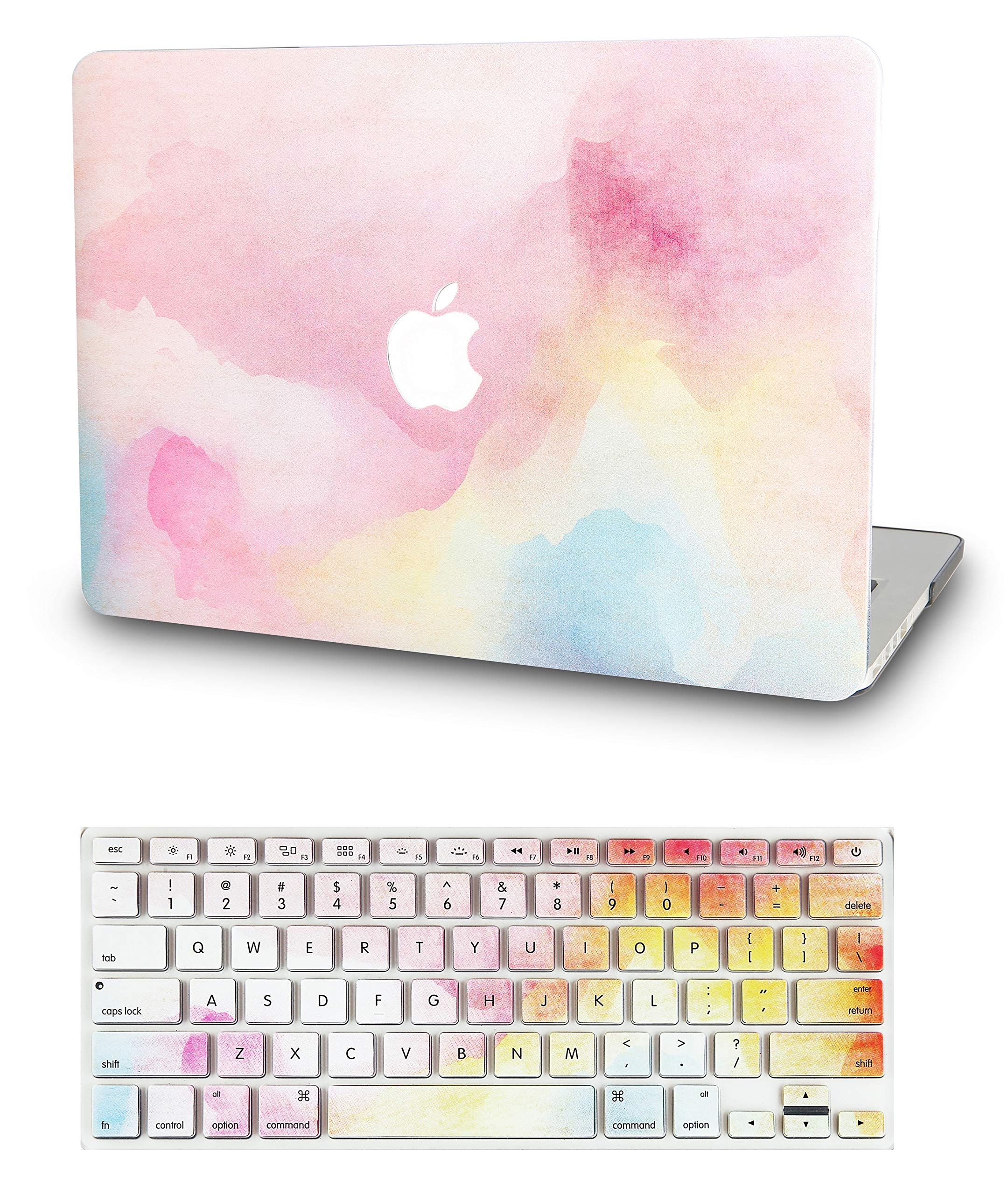"KECC Laptop Case for MacBook Pro 15"" (2019/2018/2017/2016) w/Keyboard Cover Plastic Hard Shell A1990/A1707 Touch Bar 2 in 1 Bundle (Rainbow Mist)"