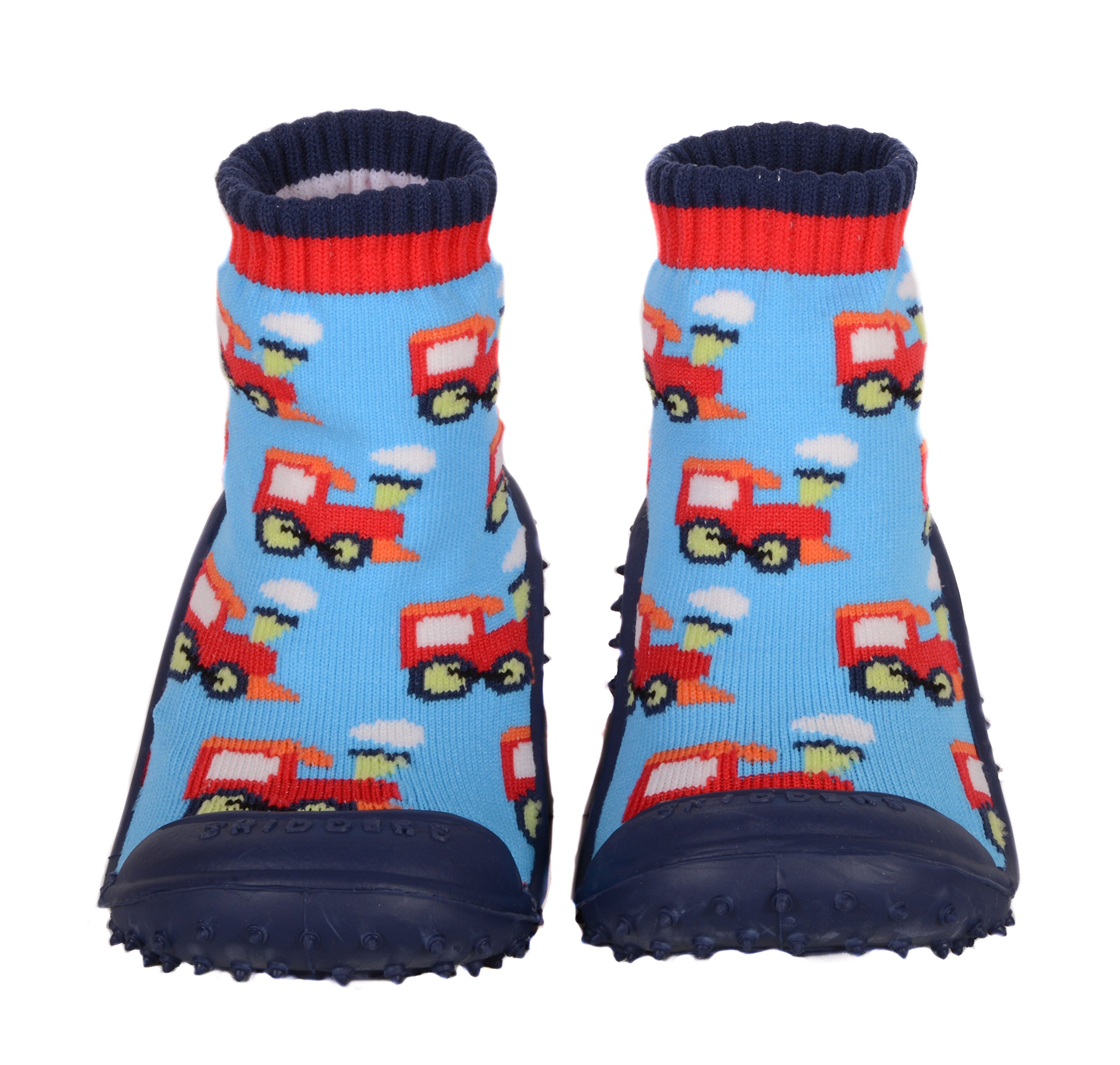 SKIDDERS Baby Toddler Boys Grip Shoes Style 1148BF (2) Blue/Multi-Color