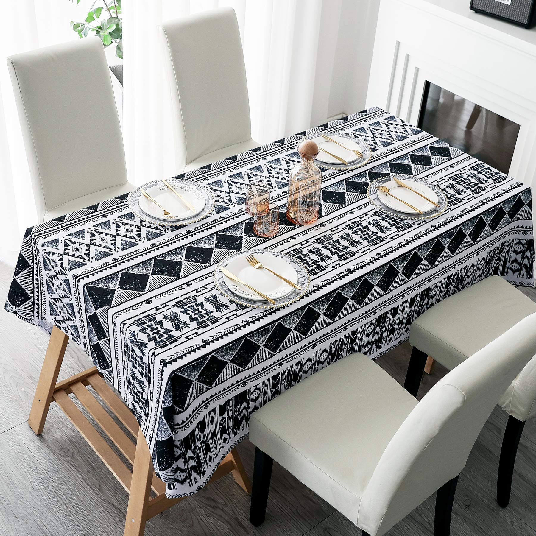 """HMS Happy Memories Tablecloth Original Design Hand Drawing Art Print Table Cloth, Washable Water Resistance Microfiber Decorative Water-Proof Rectangle Table Cover (Tape 3, 52""""x72"""")"""