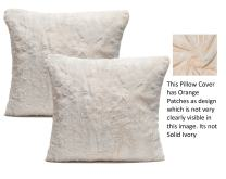 Chanasya Super Soft Fuzzy Faux Fur Cozy Warm Ivory Fur Throw Pillow Cover Pillow Sham - Ivory and Light Orange Pillow Sham 18x18 Inches(Pillow Insert Not Included) Waivy Fur Pattern 2-Pack
