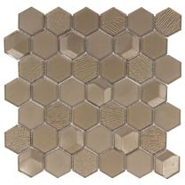 MTO0153 Modern Faceted Beveled Hexagon Brown Glossy Metallic Glass Mosaic Tile