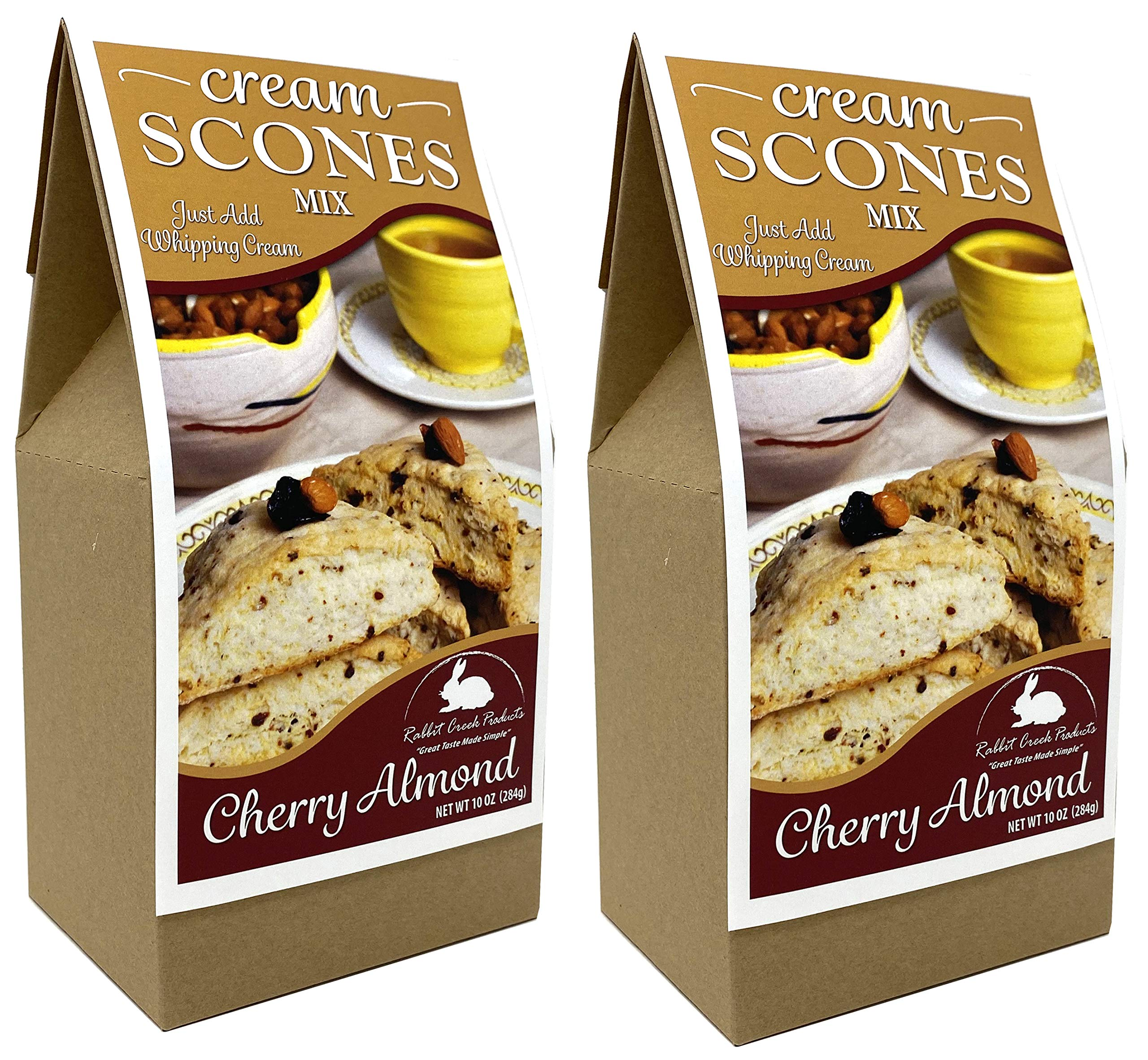 Rabbit Creek Cherry Almond Scones Pack of 2 - Easy Gourmet Scone Baking Mix - Made in the USA