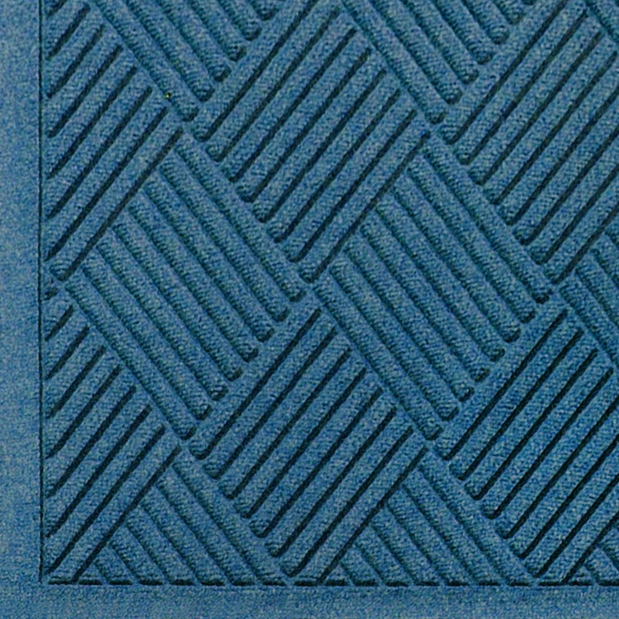 """M+A Matting 221 Waterhog Fashion Diamond Polypropylene Fiber Entrance Indoor/Outdoor Floor Mat, SBR Rubber Backing, 3' Length x 2' Width, 3/8"""" Thick, Medium Blue"""
