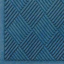 """M+A Matting 221 Waterhog Fashion Diamond Polypropylene Fiber Entrance Indoor Floor Mat, SBR Rubber Backing, 8.4' Length x 6' Width, 1/4"""" Thick, Medium Blue"""