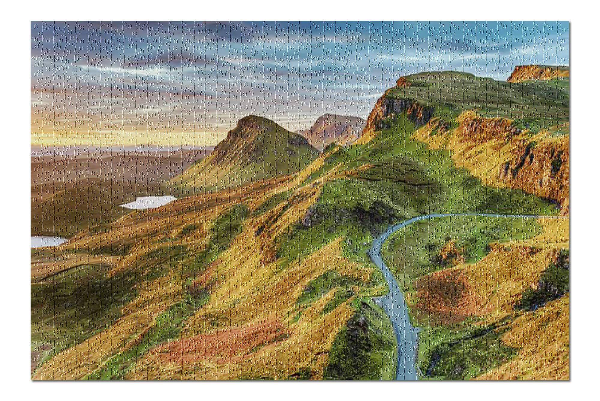 Isle of Skye, Scotland - Beautiful Sunrise Sky Over Rock Formations on The Quiraing with Vibrant Colors 9016764 (Premium 1000 Piece Jigsaw Puzzle for Adults, 20x30, Made in USA!)