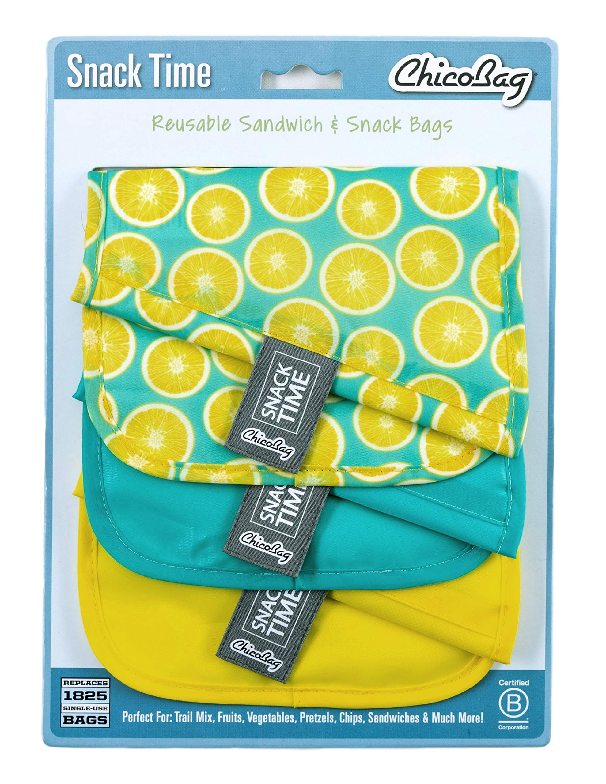 Chicobag Snack Time Reusbale Snack and Sandwhich Bags, Eco Friendly, Water and Stain Resistant Liner, Set of 3, Lemon Pattern