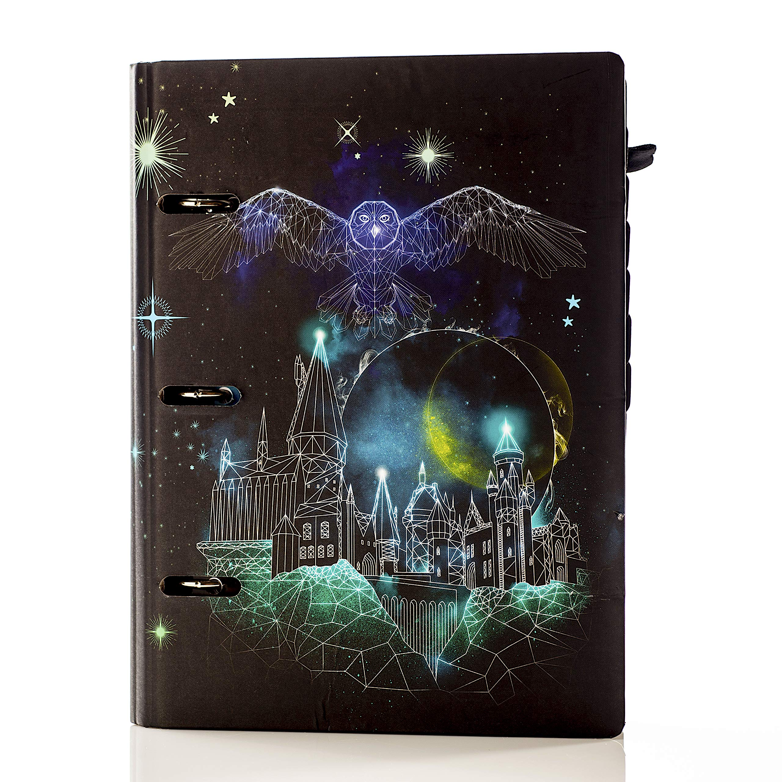 """Conquest Journals Harry Potter Celestial Undated Planner, 7 1/4""""x9"""", 3 Ring Mini Euro Binder, Weekly Horizontal Layout, Patronous Themed, 199 Pages, 2 Sticker Sheets, Elastic Strap and Pen Loop"""
