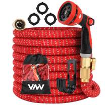 """Expandable Garden Hose Water Hose with 8 Function Nozzle Durable Flexible Hose with Hanger 3/4"""" Solid Brass Connectors, Lightweight Expanding Pipe for Watering and Washing"""