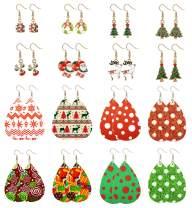 LOYALLOOK 16 Pairs Christmas Leather Earrings Leather Teardrop Dangle Earrings Cute Christmas Gifts Holiday Stud Earring Floral Print Christmas Drop Earrings