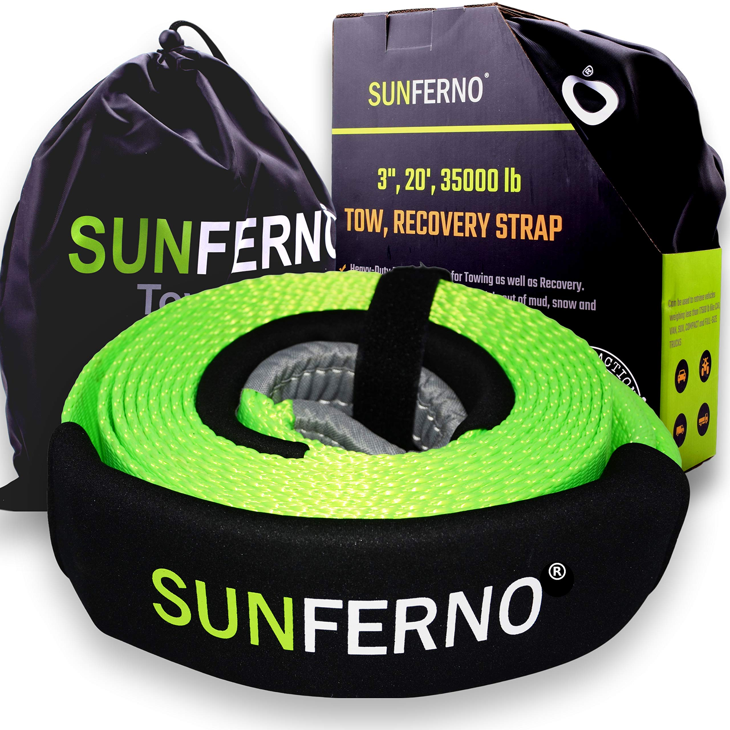 """Sunferno Recovery Tow Strap 35000lb - Recover Your Vehicle Stuck in Mud/Snow - Heavy Duty 3"""" x 20' Winch Snatch Strap - Protective Loops, Water-Resistant - Off Road Truck Accessory - Bonus Storage Bag"""