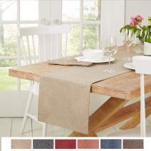 "Town & Country Living Somers Table Runner 15""x72"" Rectangle, Stain Resistant Machine Washable Polyester, Solid Beige"