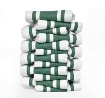 GLAMBURG Kitchen Dish Towels 12-Pack Oversized 18x28 100% Natural Cotton Vintage Classic Stripe Super Absorbent - Hunter Green