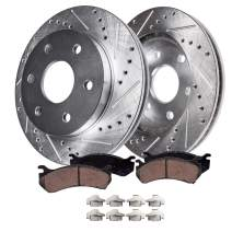 Detroit Axle - Pair (2) Rear Drilled and Slotted Disc Brake Kit Rotors w/Ceramic Pads w/Hardware for 2004-07 Rainier - [03-07 SSR] - 03-09 Trailblazer - [03-09 Envoy] - 03-08 Ascender