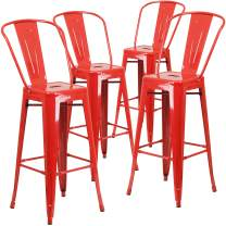 """Flash Furniture Commercial Grade 4 Pack 30"""" High Red Metal Indoor-Outdoor Barstool with Removable Back"""