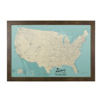 Push Pin Travel Maps Canvas - Personalized Teal Dream USA with Rustic Brown Frame