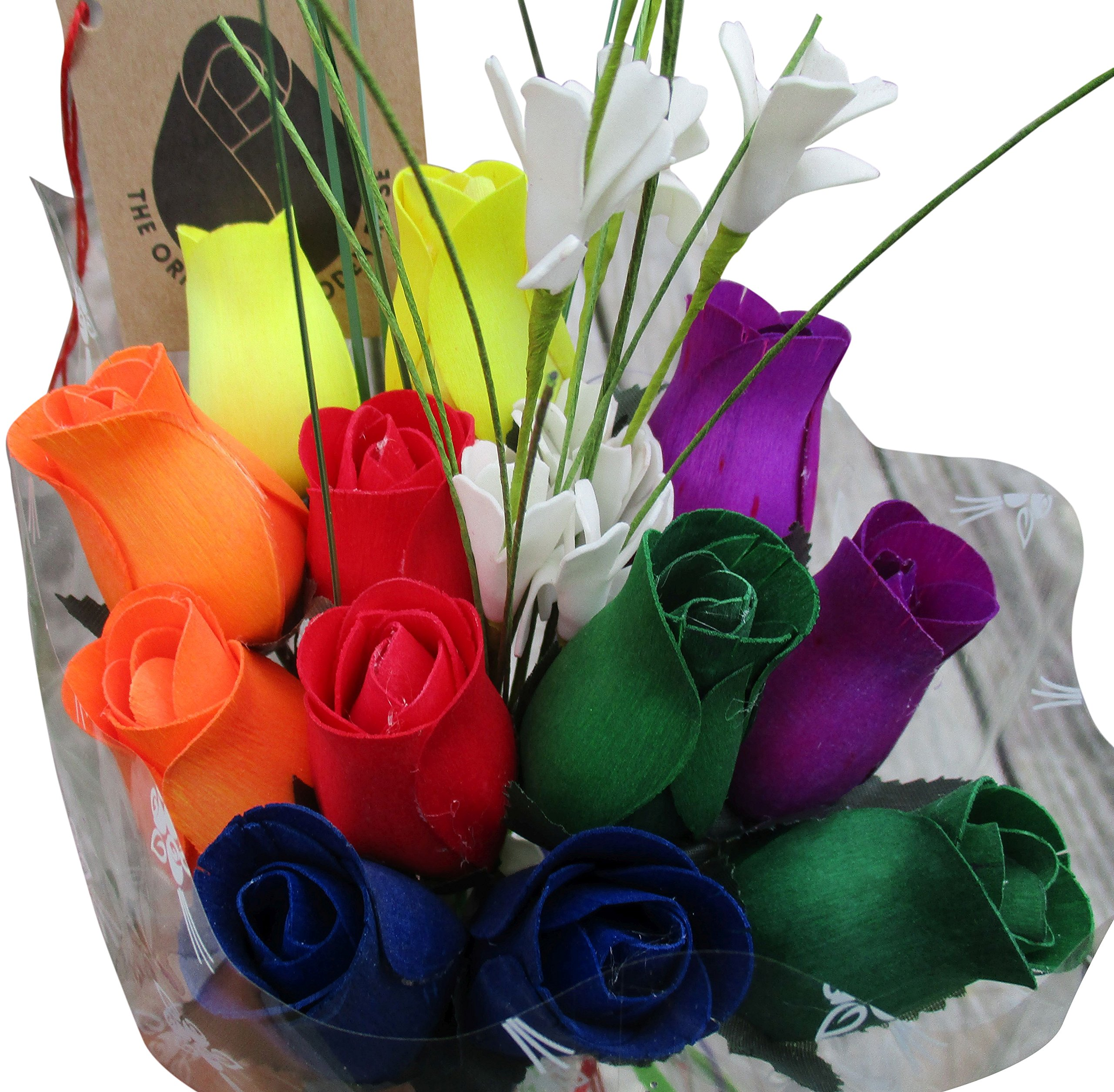The Original Wooden Rose Gay Pride Flower Bouquet Closed Bud Rainbow Colors (1 Dozen)