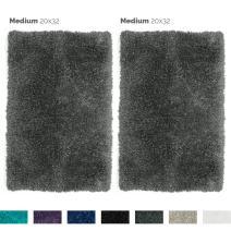"Nestl Bedding Set of 2 Medium Shaggy Rug with Non-Slip Rubber Backing – Machine Washable Super Soft Microfiber Rug – Plush Absorbent Bath Rug - 20""x32"", Gray"