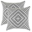 TreeWool, Pack of 2, Throw Pillow Cover Kaleidoscope Accent 100% Cotton Decorative Square Cushion Cases (22 x 22 Inches / 55 x 55 cm; Black & White)