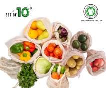 Cotton Reusable Produce Bag - Mesh Drawstring Bags - 6 Mesh Bags (2L, 2M, 2S) - 4 Muslin Bulk Bin Bags(1L, 2M, 1S) - Vegetable Cloth Bags - Mesh and Muslin Grocery Bags - Reusable Gift Bags