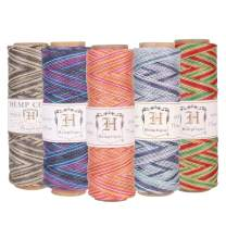 Hemptique 100% Natural Hemp Cord Spool Value Pack – 205ft ~ 62.5m X 5 - Hemp String Spool - Biodegradable .5mm Cord Thread for Jewelry Making, Macramé, Greeting Cards & More – Variegated Party Pack