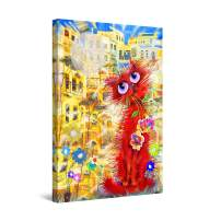 """Startonight Canvas Wall Art Abstract - Cute Red Funny Cat Painting for Kids - Large Framed 32"""" x 48"""""""