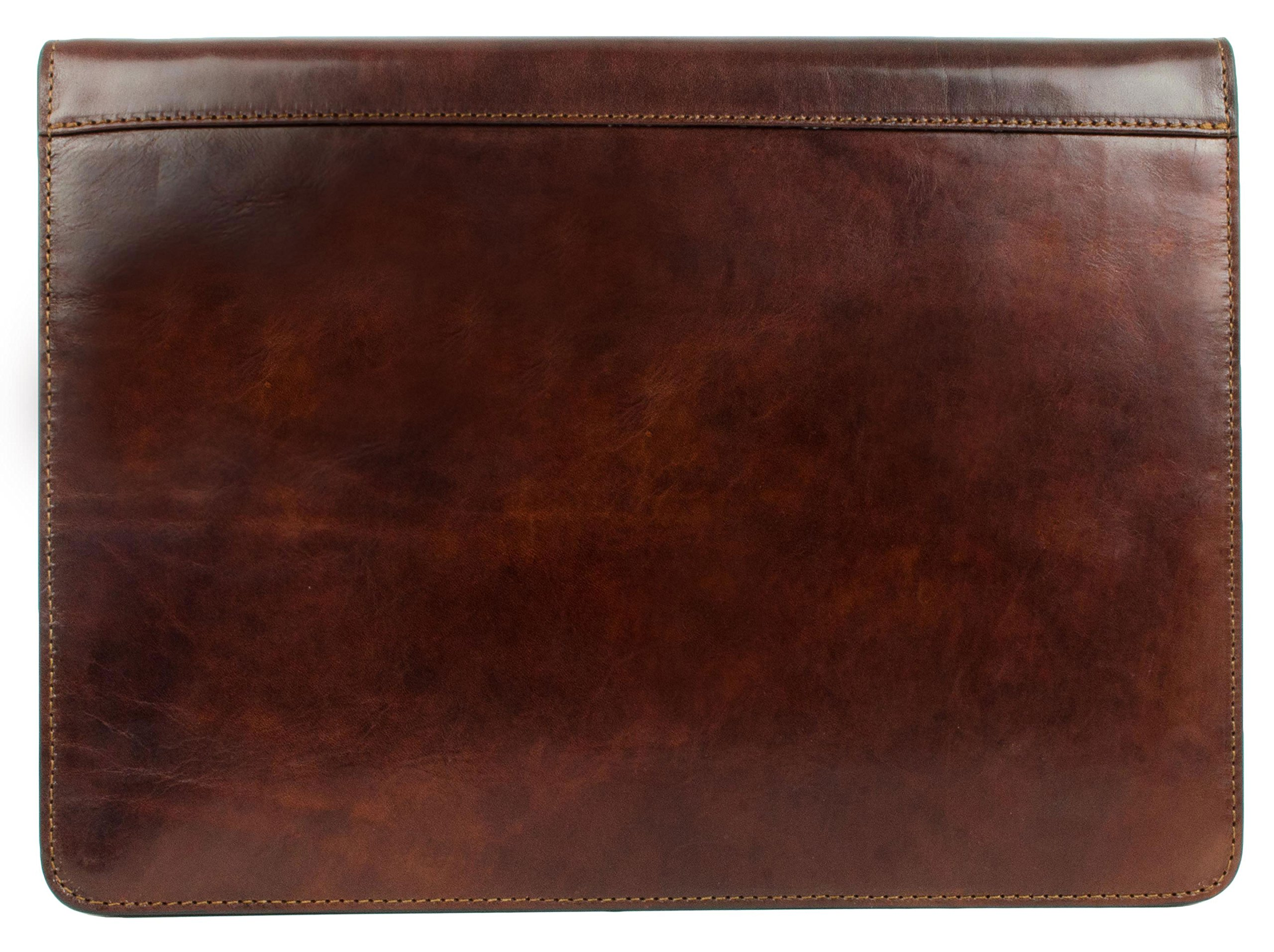 Leather Portfolio Document Folder Handcrafted Case Dark Brown Time Resistance