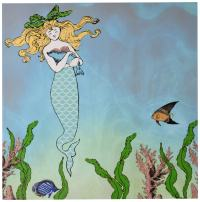 3dRose ct_112836_4 Cute Pretty Mermaid Hugging Baby Seal-Underwater Mythical Vintage Art at Sea-Ocean Marine Theme-Ceramic Tile, 12-Inch